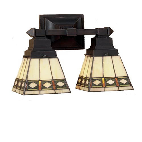 12-Inch Diamond Mission Two-Light Wall Sconce