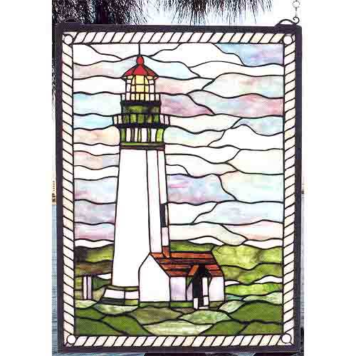 Yaquina Lighthouse Art Glass Window
