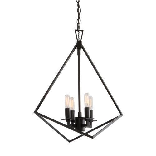 Cage Matte Black Four-Light 18-Inch Chandelier