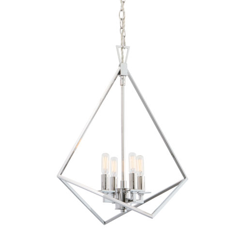 Cage Polished Nickel Four-Light 18-Inch Chandelier