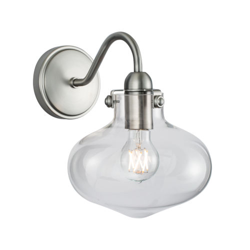 Clara Brushed Nickel Eight-Inch One-Light Wall Sconce
