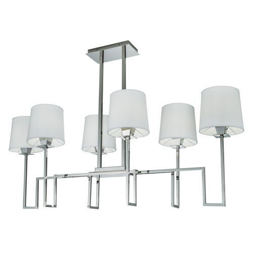Norwell Maya Polished Nickel Six-Light Geometric Chandelier
