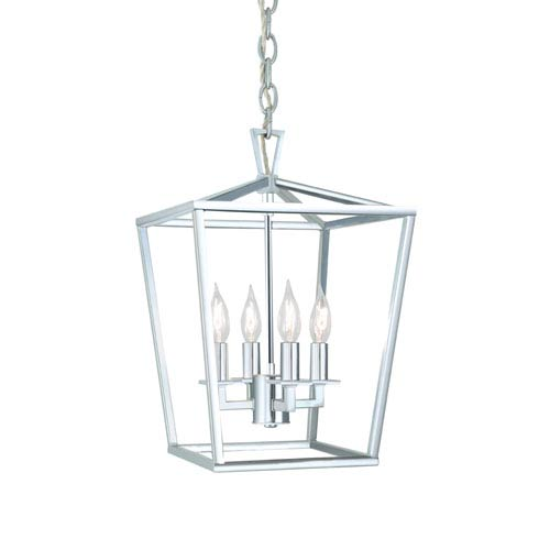Polished Nickel Four-Light 12-Inch Pendant