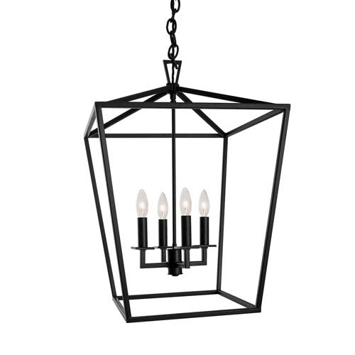 Matte Black Four-Light 18-Inch Pendant