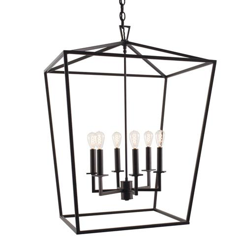 Matte Black Six-Light Pendant