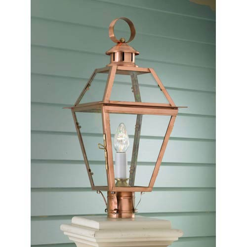Copper outdoor post lighting free shipping bellacor old colony copper outdoor post mount aloadofball Images