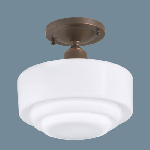 Norwell Schoolhouse Oil Rubbed Bronze Single Light Flush Mount w/ Stepped Glass