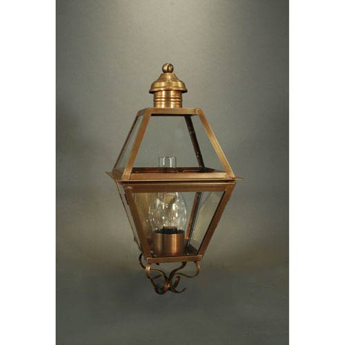 Boston Antique Brass 10.5-Inch One-Light Outdoor Wall Sconce with Clear Glass