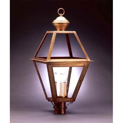 Northeast Lantern Colonial Antique Brass Clear Three Light Post Lantern 1073 Ab Lt3 Clr Bellacor