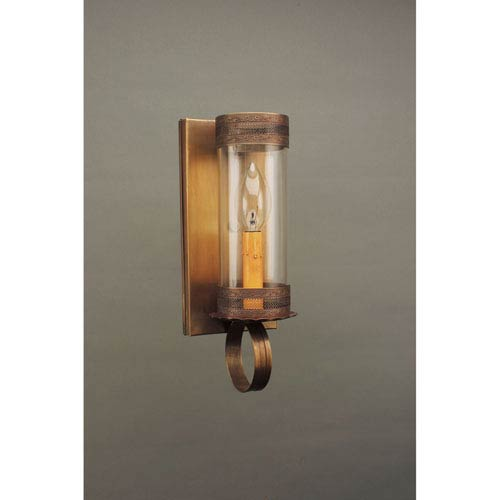 Dark Antique Brass One-Light Wall Sconce with Clear Glass