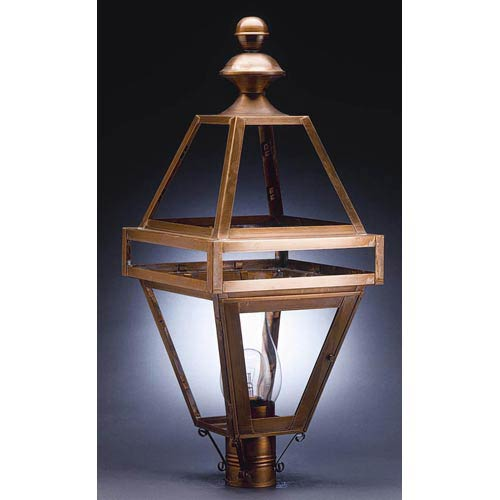 Northeast Lantern Boston Antique Brass One-Light Outdoor Post Light with Clear Glass