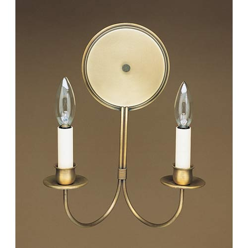 Antique Brass Round Back Candelabra Sconce