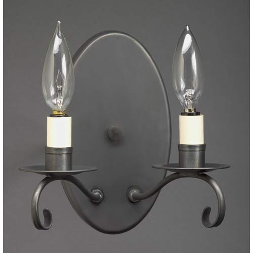 Dark Brass Large Oval Two-Light Wall Sconce