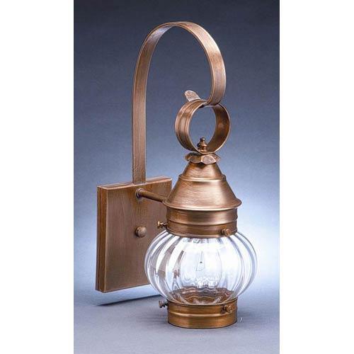 Northeast Lantern Onion Antique Brass One-Light Outdoor Wall Light with Optic Glass