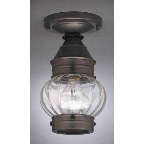 Northeast Lantern Onion Dark Brass One-Light Outdoor Flush Mount with Optic Glass