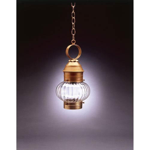 Onion Antique Brass One-Light Outdoor Pendant with Optic Glass