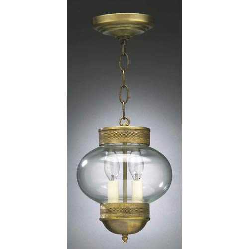 Antique Brass and Clear Glass Medium Onion Semi-Flush Lantern with Galley