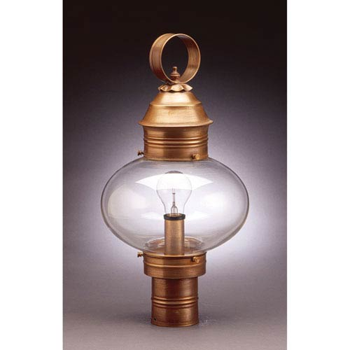Northeast Lantern Onion Antique Brass One-Light 10-Inch Outdoor Post Mount with Clear Glass
