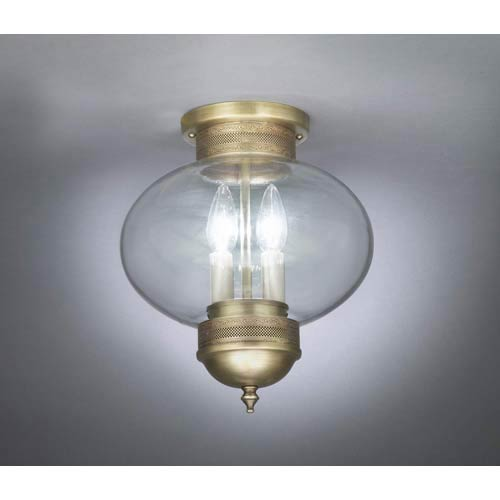 Raw Brass and Clear Glass Large Outdoor Ceiling Lantern with Galley