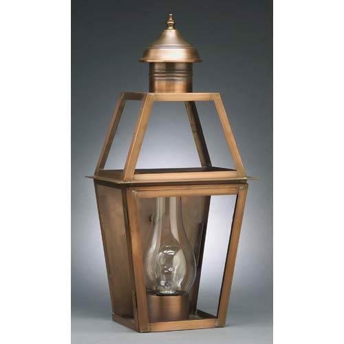 Northeast Lantern Medium Antique Copper Outdoor Wall Lantern with Seedy Marine Glass
