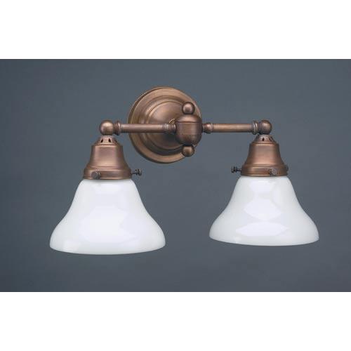 Northeast Lantern Dark Antique Brass Two-Light Sconce with White Glass