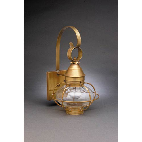 Onion Antique Brass One-Light Nine-Inch Outdoor Wall Mount with Optic Glass