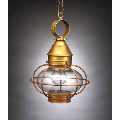 Northeast Lantern Small Antique Br Caged Onion Outdoor Hanging