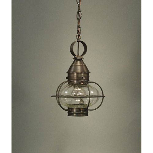 Onion Dark Brass One-Light Nine-Inch Outdoor Pendant with Optic Glass