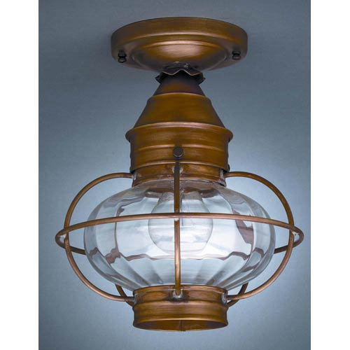 Onion Antique Brass One-Light Outdoor Flush Mount with Optic Glass