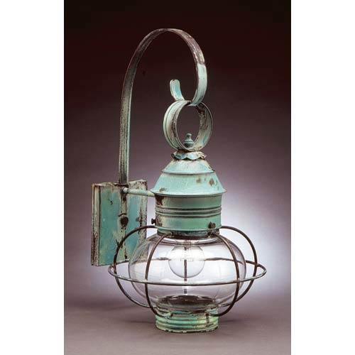 Medium Verdi Gris Caged Onion Outdoor Wall Lantern