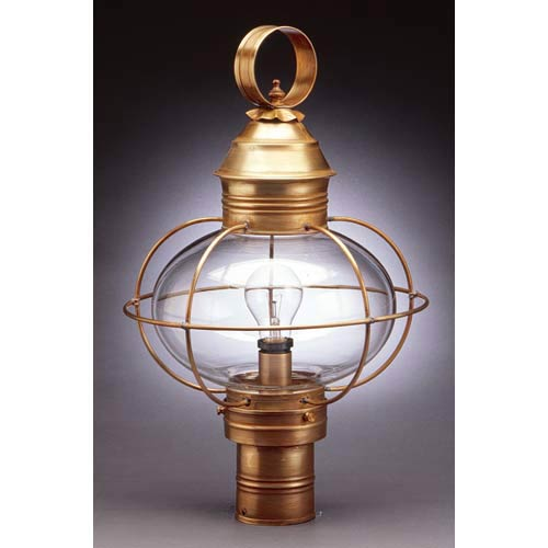 Large Antique Brass Caged Onion Outdoor Post-Mount Lantern