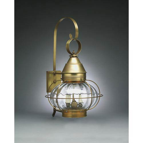 Onion Antique Brass One-Light Outdoor Wall Light with Optic Glass