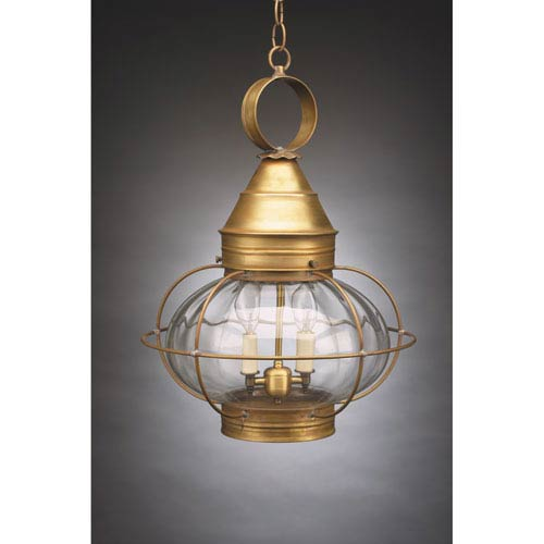 Northeast Lantern Onion Antique Brass Two-Light Outdoor Pendant with Optic Glass