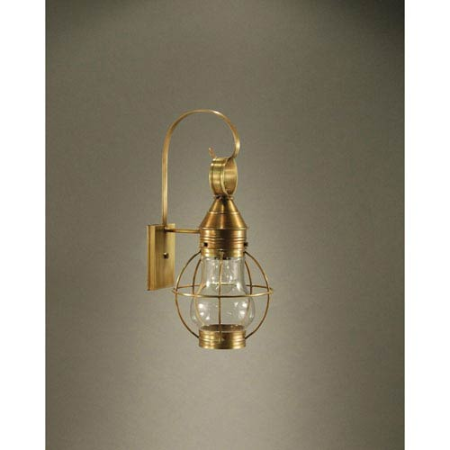 Bosc Dark Antique Brass 9-Inch One-Light Outdoor Wall Sconce with Clear Glass
