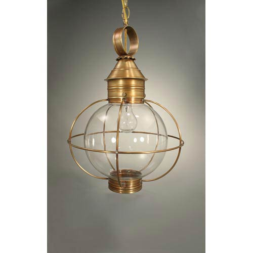 Onion Antique Brass One-Light Outdoor Pendant with Clear Glass