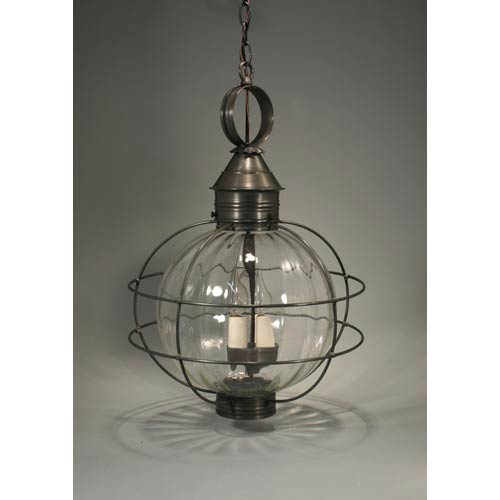 Onion Dark Brass Three-Light Outdoor Pendant with Optic Glass