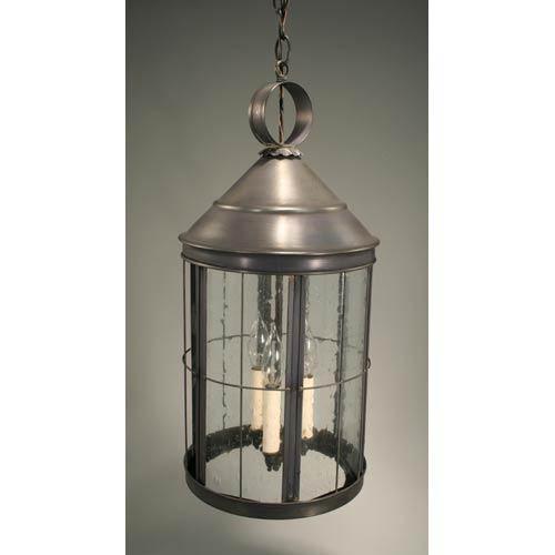 Northeast Lantern Heal Dark Brass Three-Light Outdoor Pendant with Clear Seedy Glass