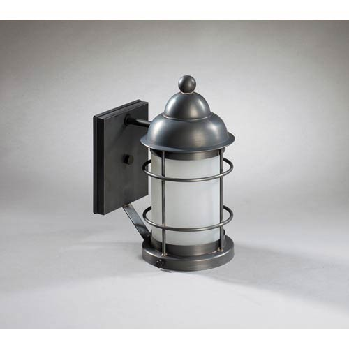 Nautical Dark Brass One-Light Outdoor Wall Light with Frosted Glass