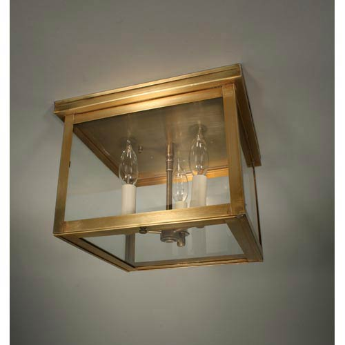 Williams Antique Brass Three-Light Outdoor Flush Mount with Clear Glass