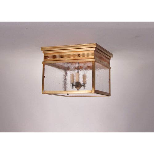 Elryan Antique Brass Three-Light Outdoor Flush Mount with Seedy Marine Glass