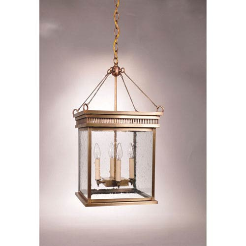 Northeast Lantern Elryan Antique Brass Four-Light Chandelier with Clear  Seedy Glass - Northeast Lantern Elryan Antique Brass Four Light Chandelier With