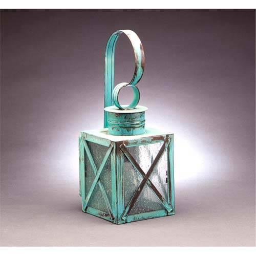 Northeast Lantern Small Verdi Gris X-Bar Outdoor Wall Lantern with Seedy Marine Glass