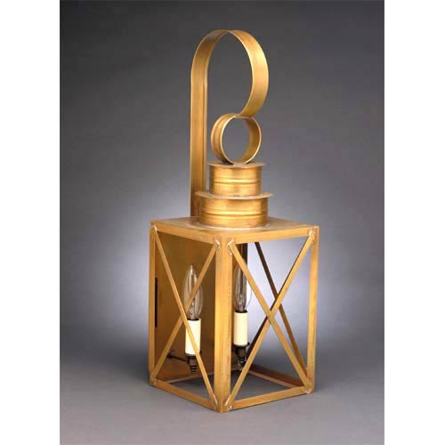 Northeast Lantern Medium Antique Brass Two-Light X-Bar Wall Lantern