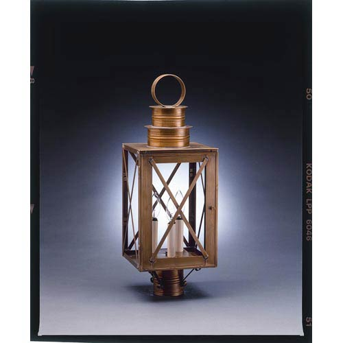 Northeast Lantern Suffolk Antique Brass Three-Light Outdoor Post Light with Clear Glass