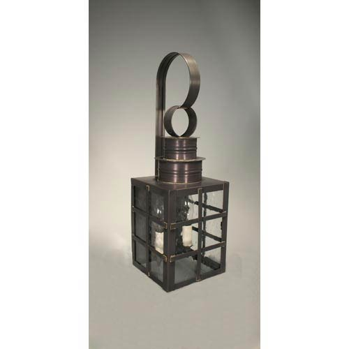 Northeast Lantern Suffolk Dark Brass Two-Light Outdoor Wall Light with Clear Seedy Glass