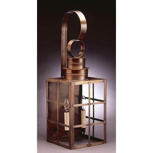Large Dark Antique Brass H-Bars Outdoor Wall Lantern