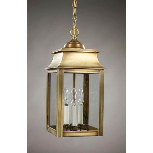 Northeast Lantern Concord Antique Brass Three-Light Outdoor Pendant with Clear Glass