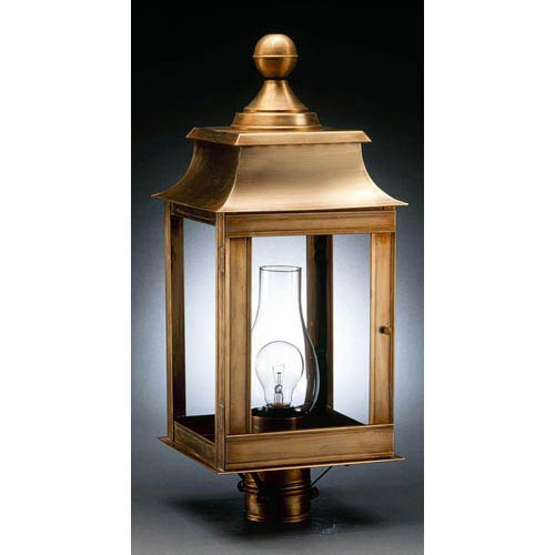 Concord Antique Brass One-Light Outdoor Post Light with Clear Glass