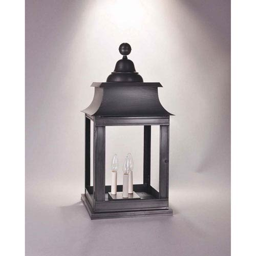 Concord Dark Brass 12.5-Inch Three-Light Outdoor Pier Mount with Clear Glass