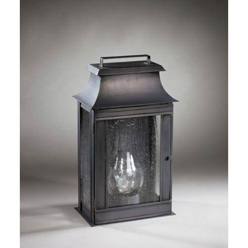 Concord Dark Brass One-Light Outdoor Wall Light with Seedy Marine Glass